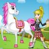 a la muchacha hermosa y su pony amado