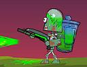 zombie hombre arroja a chorros