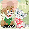 vestido de um gato e um cachorro
