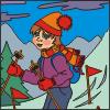 cor de um esquiador